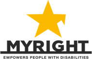 Myright logo - Myright Empowers people with disabilities, to support people with disabilities. The logo was introduced yellow star with a broken right arm below which the name myright.