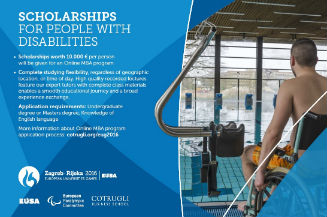 Image of poster for ONLINE MBA FULL SCHOLARSHIP PROGRAM FOR PEOPLE WITH DISABILITIES.